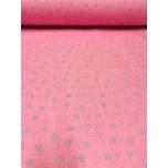 Puuvillane kangas 2,4m roosal hallid tähed.