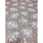 Puuvillane kangas 2,4m beešil valged lillekimbud.