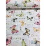 Puuvillane kangas 2,4m kollane-roheline liblikas.