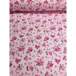 Puuvillane kangas 2,4m roosal väike lillekimp.