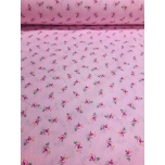 Puuvillane kangas 2,4m roosa väike roos.