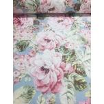 Puuvillane kangas 2,4m roosa-helesinisega suured roosid.