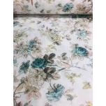 Puuvillane kangas 2,4m valgel türkiisitooni lilled.