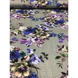 Trikotaaž, hallil sinised ja lillad lilled.