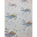 Puuvillane kangas 2,4m sinise tekiga magavad karud.