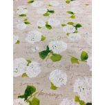 Prinditud dekoratiivkangas,  valged hortensiad .