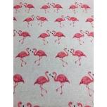 Prinditud dekoratiivkangas, linase tooni põhjal Flamingod.