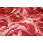 Puuvillane kangas, punased roosid. 1.4m