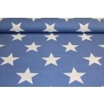 Puuvillane kangas, sinisel põhjal suured valged tähed. 1.5m
