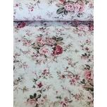 Puuvillane kangas 2,4m naturalvalgel põhjal lillekimp.