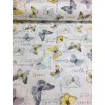 Puuvillane kangas 2,4m valgel hallid-kollased liblikad.