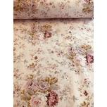 Puuvillane kangas 2,4m roosal põhjal lillekimp