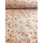 Puuvillane kangas 2,4m roosal põhjal lilleline
