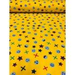 Trikotaaž,kollasel tähed ja pallid.