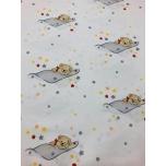 Puuvillane kangas 2,4m halli tekiga magavad karud.