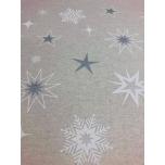 Prinditud dekoratiivkangas, hõbedased tähed.