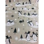 Prinditud dekoratiivkangas, jääkarud ja pingviinid.