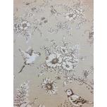 Puuvillane kangas 2,4m beešil lilled ja linnud.