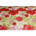 Puuvillane kangas, punased lilled-hibiskus. 2.2m
