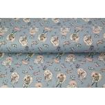 Õhuke dressikangas Tüdruk ja kassid,sinine