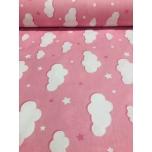Puuvillane kangas 2,4m roosad pilved.