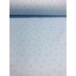 Puuvillane kangas 2,4m hallid tähed helesinisel.