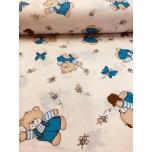 Puuvillane kangas 2,4m karu ja meepott sinine
