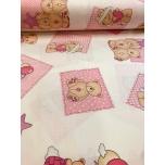 Puuvillane kangas 2,4m karud ja ruudud roosa.