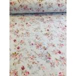 Puuvillane kangas 2,4m helesinisel-hallil põhjal lilleline